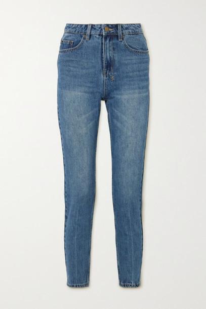 Ksubi - Slim Pin Cropped High-rise Slim-fit Jeans - Mid denim