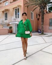 dress,mini dress,green dress,ruffle dress,slide shoes,crossbody bag