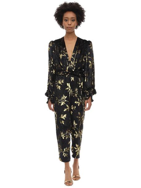 DODO BAR OR Long Draped Velvet Jacquard Jumpsuit in black / gold