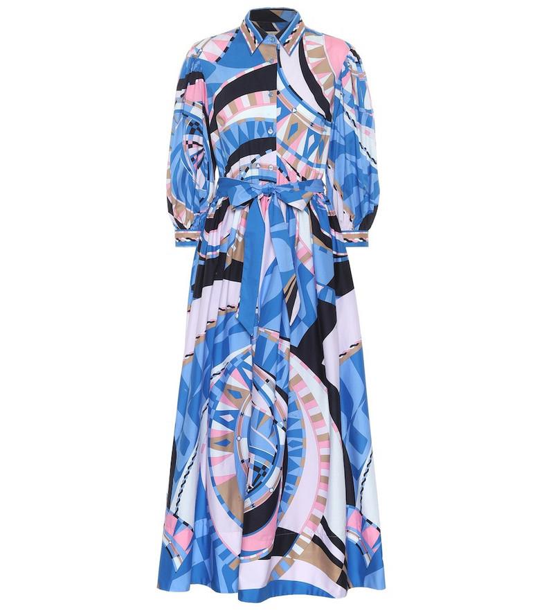 Emilio Pucci Printed cotton maxi dress in blue