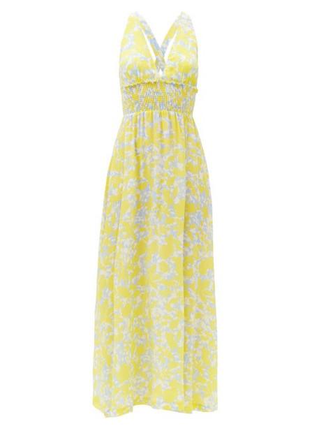 Heidi Klein - Floral-print Silk-crepe Maxi Dress - Womens - Yellow Print