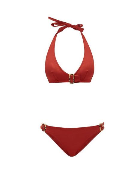 Eres - Halterneck Tortoiseshell Buckle Bikini - Womens - Red