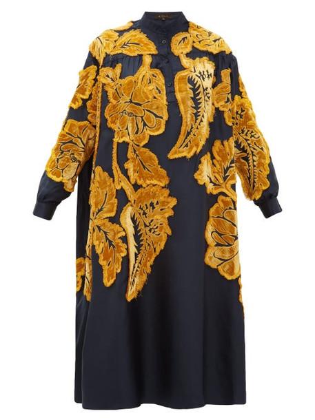 Biyan - Liga Floral Velvet Appliqué Silk Satin Dress - Womens - Navy Multi