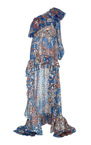 Dundas One-Shoulder Metallic Fil Coupé Silk-Blend Maxi Dress in blue
