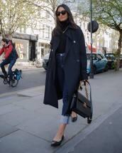 coat,trench coat,long coat,ballet flats,skinny jeans,black bag,black turtleneck top,sunglasses