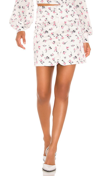 BROGNANO Floral Mini Skirt in White in multi