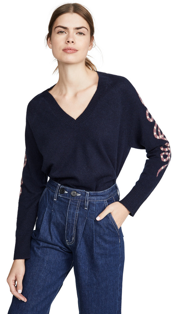 360 SWEATER Beatrice Cashmere Sweater in navy / plum