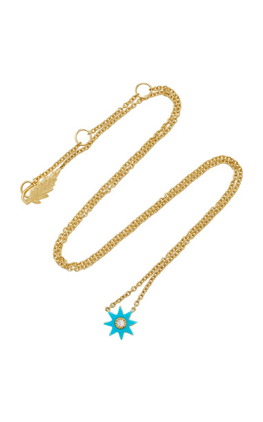 Colette Jewelry Mini Starburst 18K Gold Turquoise and Diamond Necklace in blue