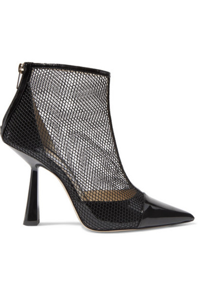 Jimmy Choo - Kix 100 Fishnet And Patent-leather Ankle Boots - Black