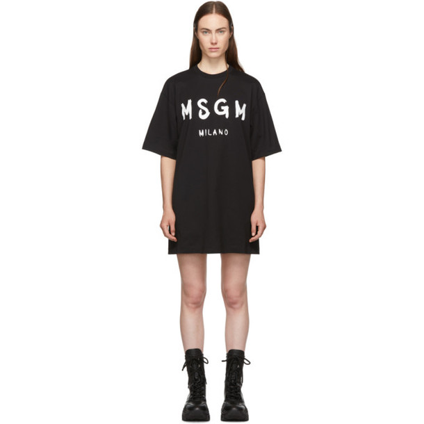 MSGM Black Paint Brushed Logo T-Shirt Dress