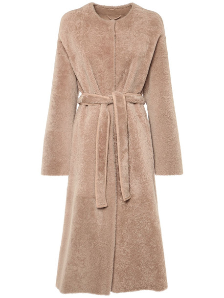 'S MAX MARA Merino Shearling Wool Habana Coat in beige