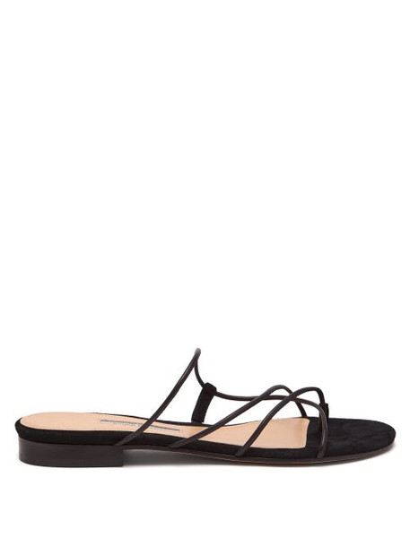 Emme Parsons - Chris Leather And Suede Slides - Womens - Black