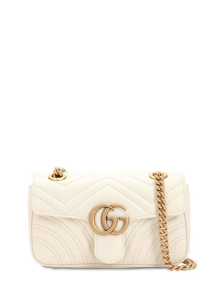 GUCCI Mini Gg Marmont 2.0 Leather Shoulder Bag in white