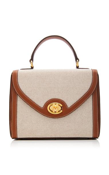 Mark Cross Valentina Grain Leather-Trimmed Birdseye Top Handle Bag in brown