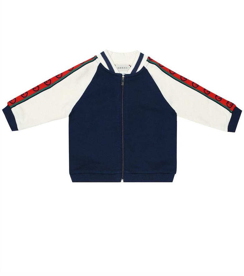 Gucci Kids Baby logo cotton jacket in blue