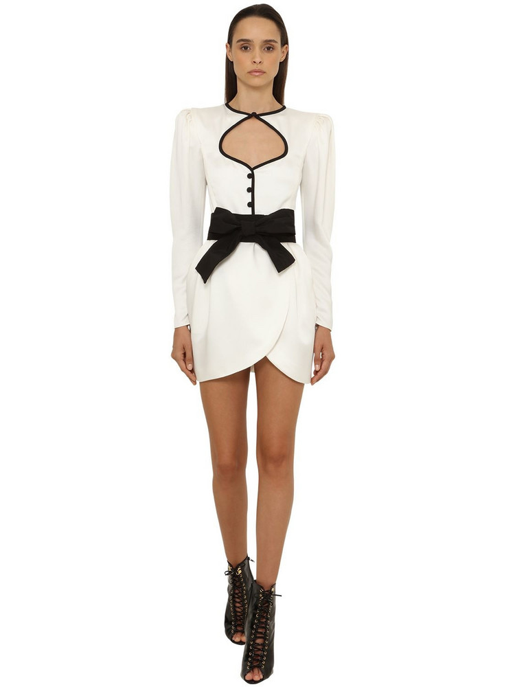 DUNDAS Viscose Crepe Mini Dress in white