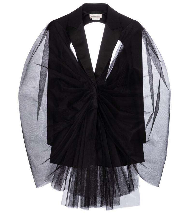 Alexander McQueen Tulle-trimmed wool-blend blazer in black