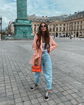 jeans,high waisted jeans,sneakers,blazer,bag,white top,crop tops,vans
