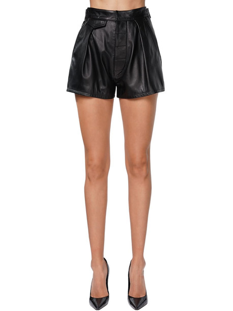 DSQUARED2 High Waist Leather Shorts in black
