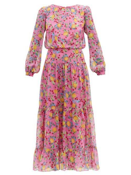 Saloni - Isabel Lemon Print Silk Georgette Dress - Womens - Pink Multi