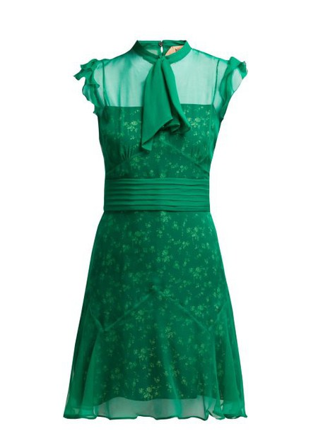 No. 21 - Floral Print Pussybow Silk Dress - Womens - Green