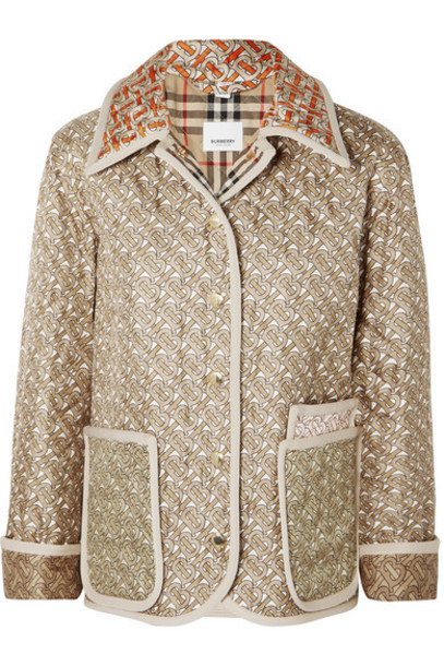 Burberry - Printed Quilted Silk-faille Jacket - Beige