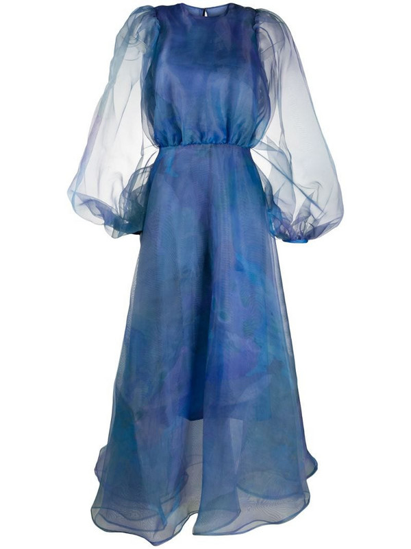 Beaufille puff sleeves flared dress in blue