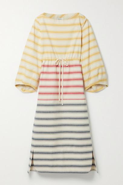 Rosie Assoulin - Striped Cotton-canvas Midi Dress - Yellow