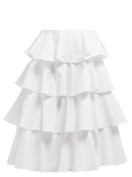 Batsheva - Tiered Cotton Midi Skirt - Womens - White