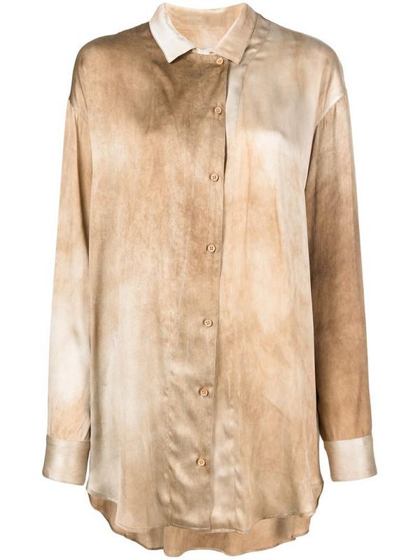 Uma Wang dyed-effect silk shirt in neutrals