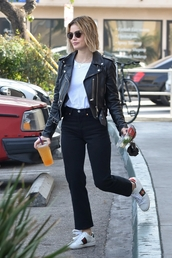 jacket,biker jacket,lucy hale,top,streetstyle,fall outfits,casual