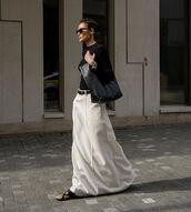 shoes,flat sandals,black sandals,white skirt,maxi skirt,black bag,black top