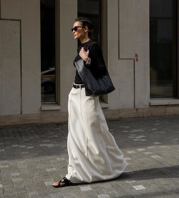 shoes flat sandals black sandals white skirt maxi skirt black bag black top