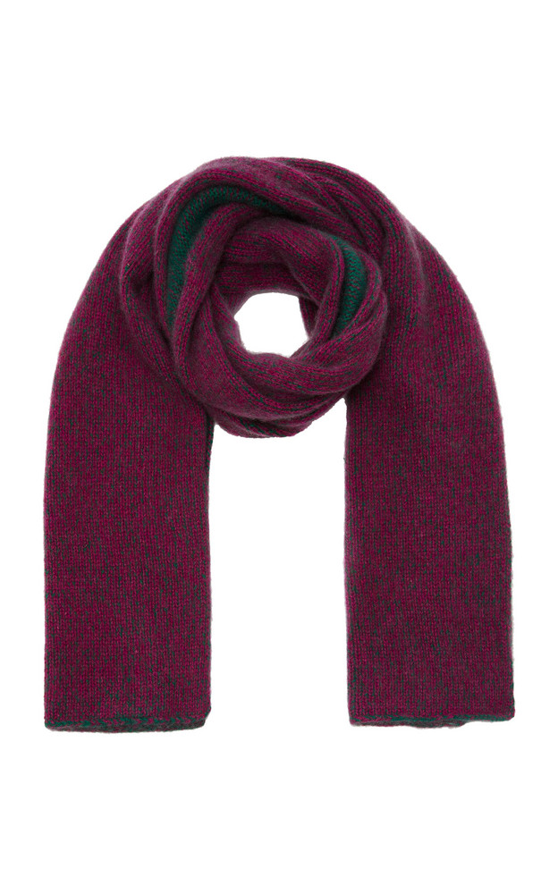 The Elder Statesman Two-Tone Marled Cashmere Scarf in green