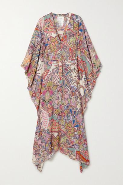 Etro - Asymmetric Belted Paisley-print Crepe Kaftan - Pink