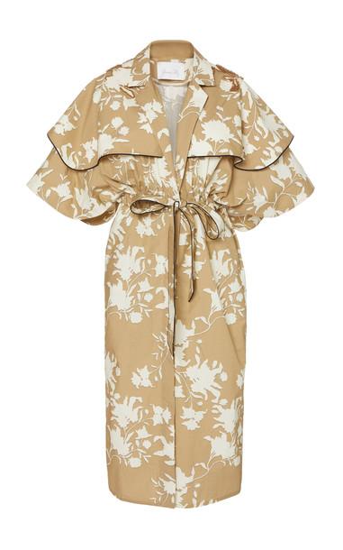 Johanna Ortiz Paper Flower Sash-Tie Cotton-Poplin Coat Dress