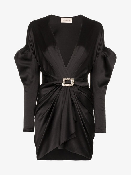 Alexandre Vauthier puffed shoulder plunge mini-dress in black