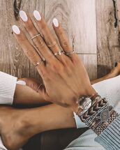 jewels,ring,bracelets,white sweater,nail polish,nail art