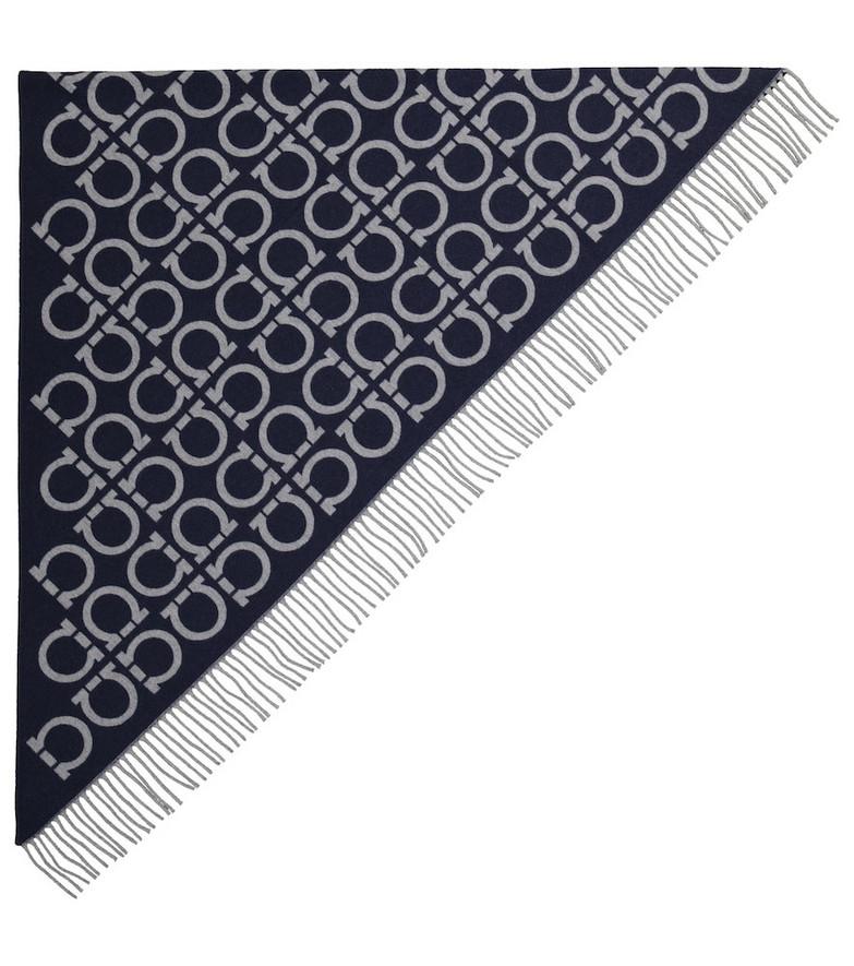Salvatore Ferragamo Gancini wool and cashmere scarf in blue
