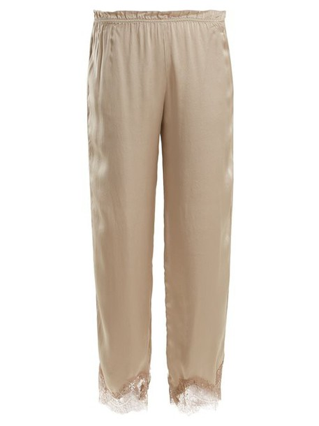 Icons - Buttercup Lace Trimmed Silk Pyjama Trousers - Womens - Beige