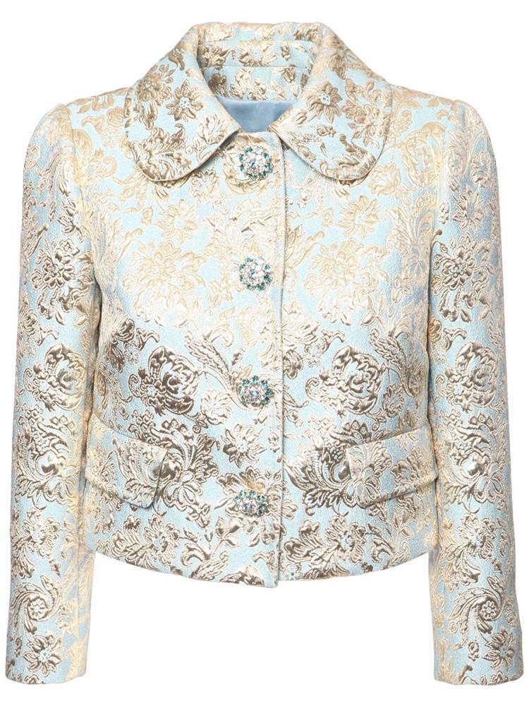 DOLCE & GABBANA Jacquard Lamé Cropped Jacket in blue / gold