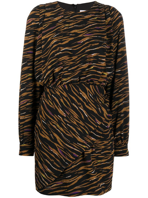 Lala Berlin zebra print elasticated waist dress in black