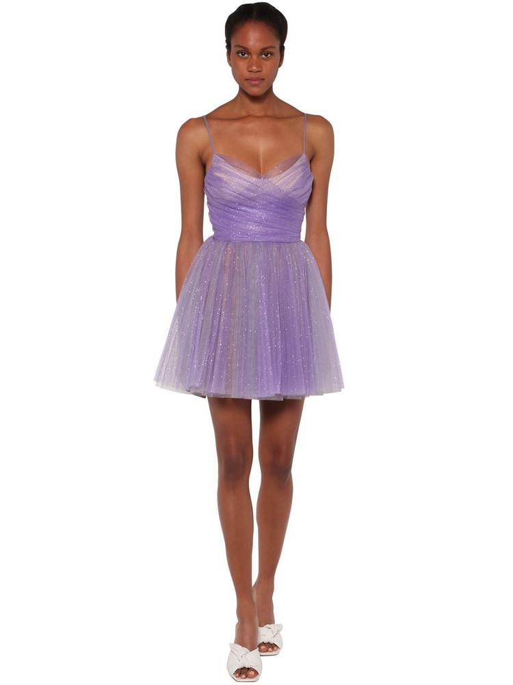 BROGNANO Glitter Tulle Mini Dress in lilac