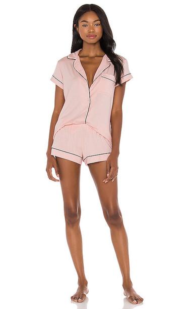 eberjey Gisele Short PJ Set in Pink in black