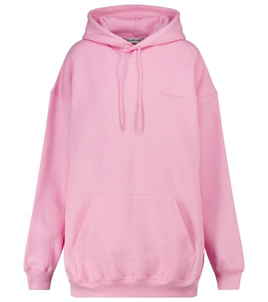 Balenciaga Logo cotton hoodie in pink