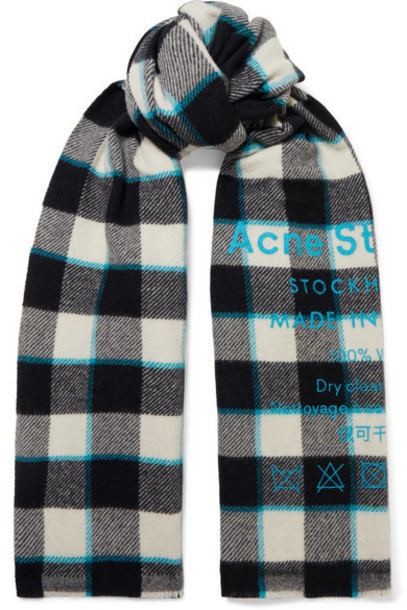 Acne Studios - Cassiar Printed Checked Wool Scarf - White