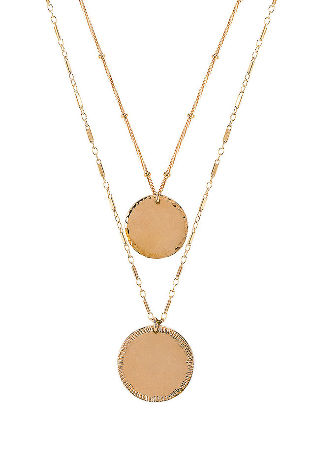 Paradigm Double Coin Necklace in gold / metallic