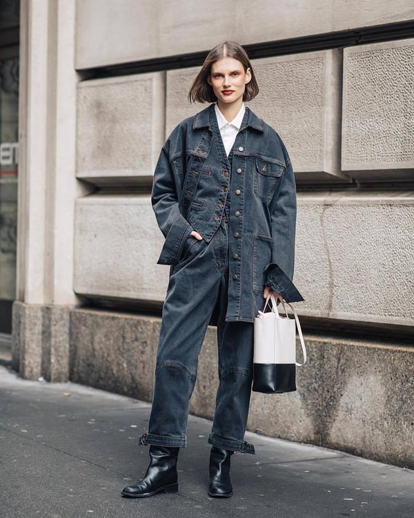 jacket denim jacket oversized jacket jumpsuit denim vest black boots white bag white shirt