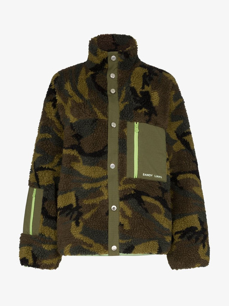 Sandy Liang Rory camouflage fleece jacket in brown