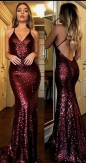 dress,burgundy,sequin dress,long dress,bridesmaid